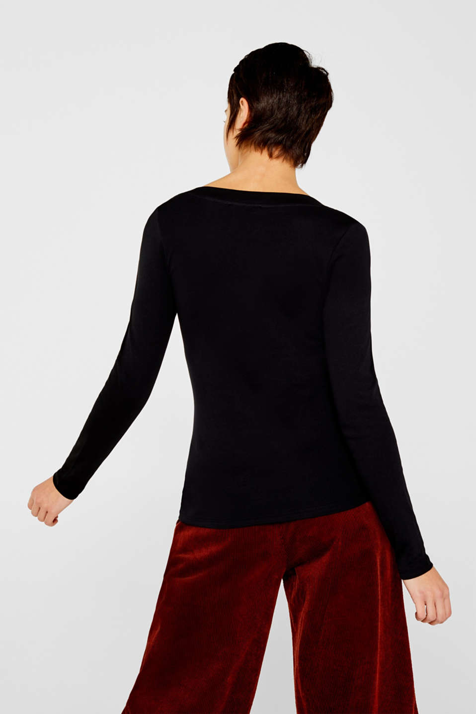 Long sleeve top with a large neckline, 100% cotton, BLACK, detail image number 3