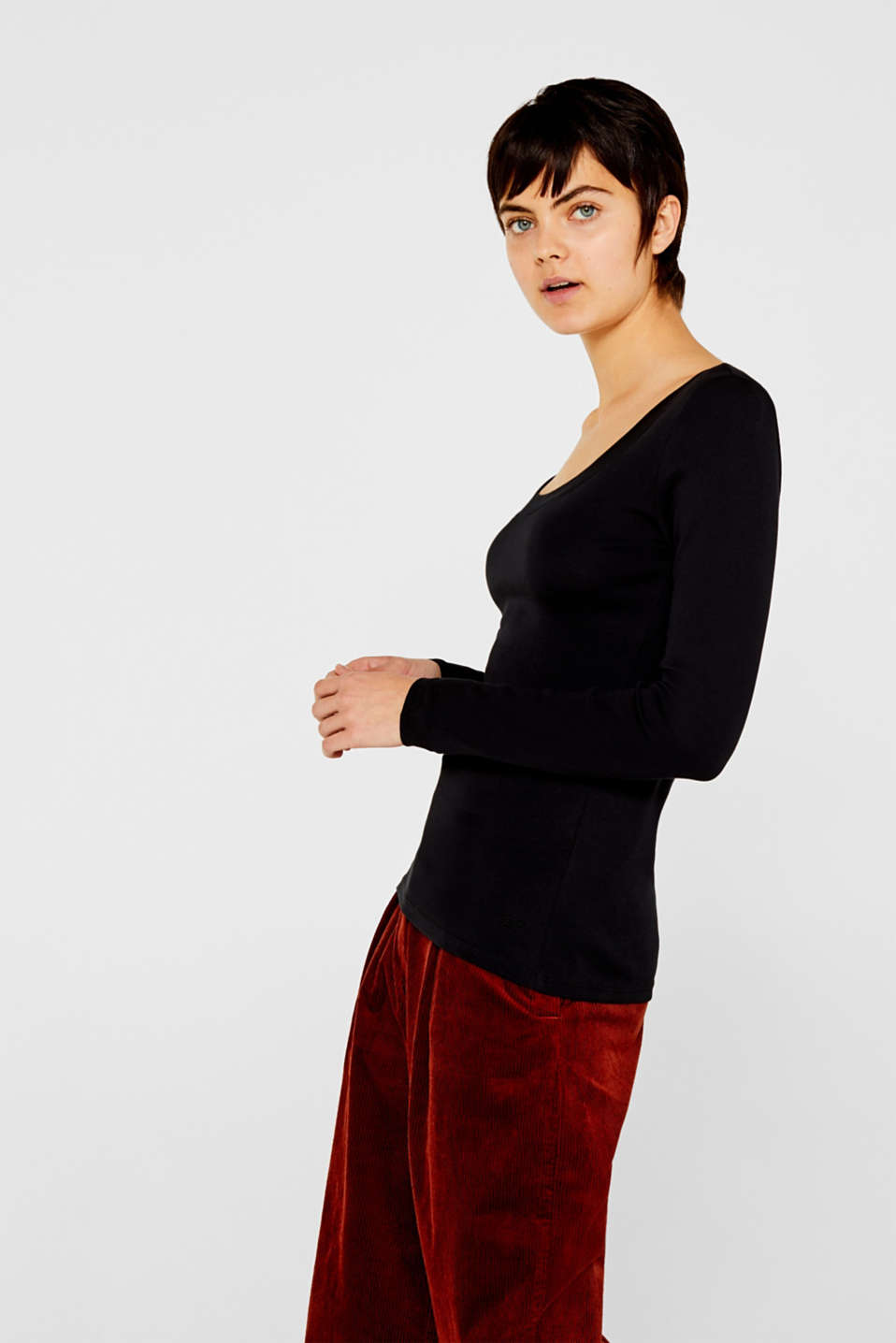 Long sleeve top with a large neckline, 100% cotton, BLACK, detail image number 2