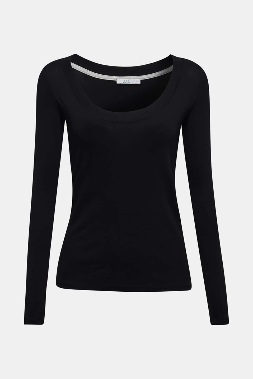 Long sleeve top with a large neckline, 100% cotton, BLACK, detail image number 7