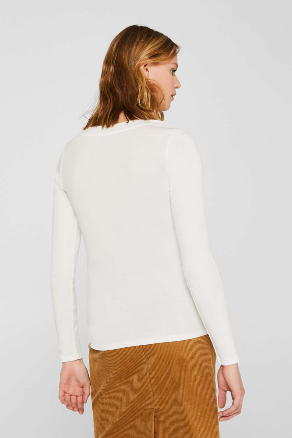 Long sleeve top with a large neckline, 100% cotton, OFF WHITE, detail image number 3