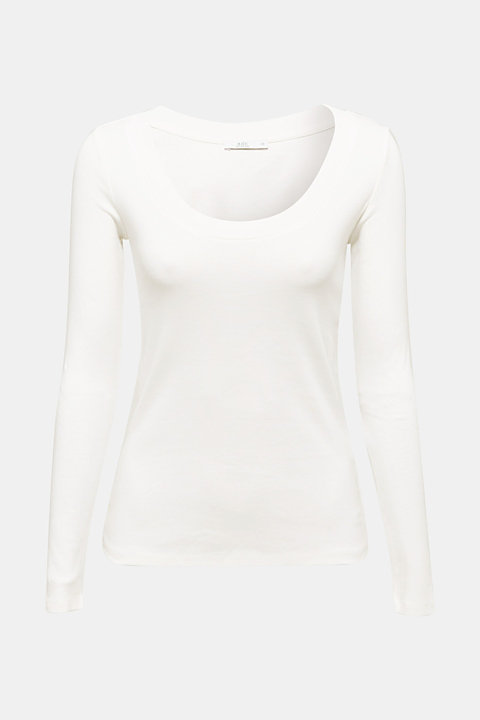 Long sleeve top with a large neckline, 100% cotton