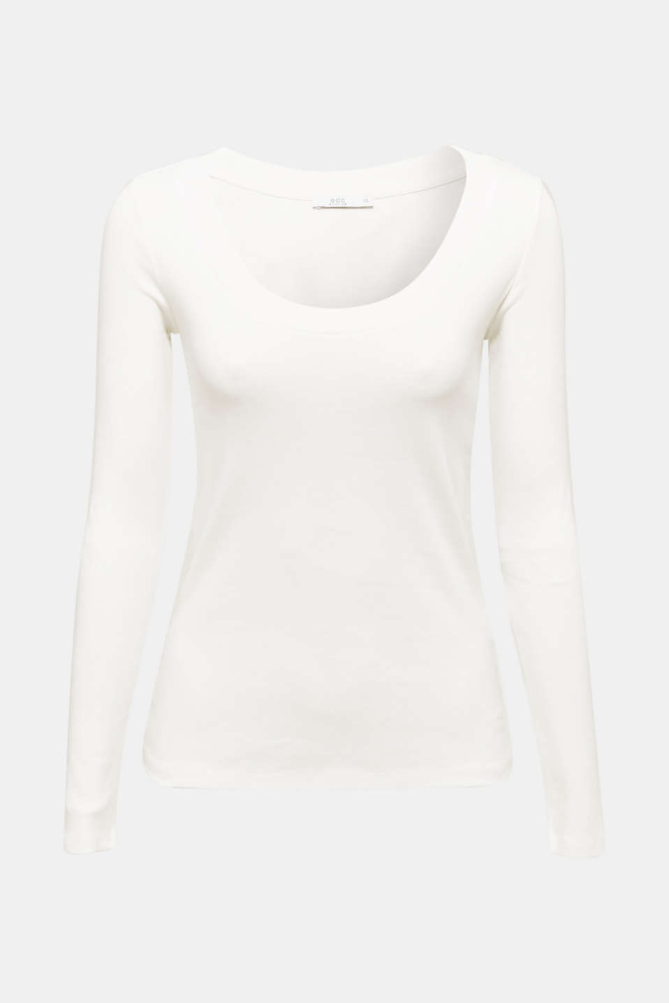Long sleeve top with a large neckline, 100% cotton, OFF WHITE, detail image number 7
