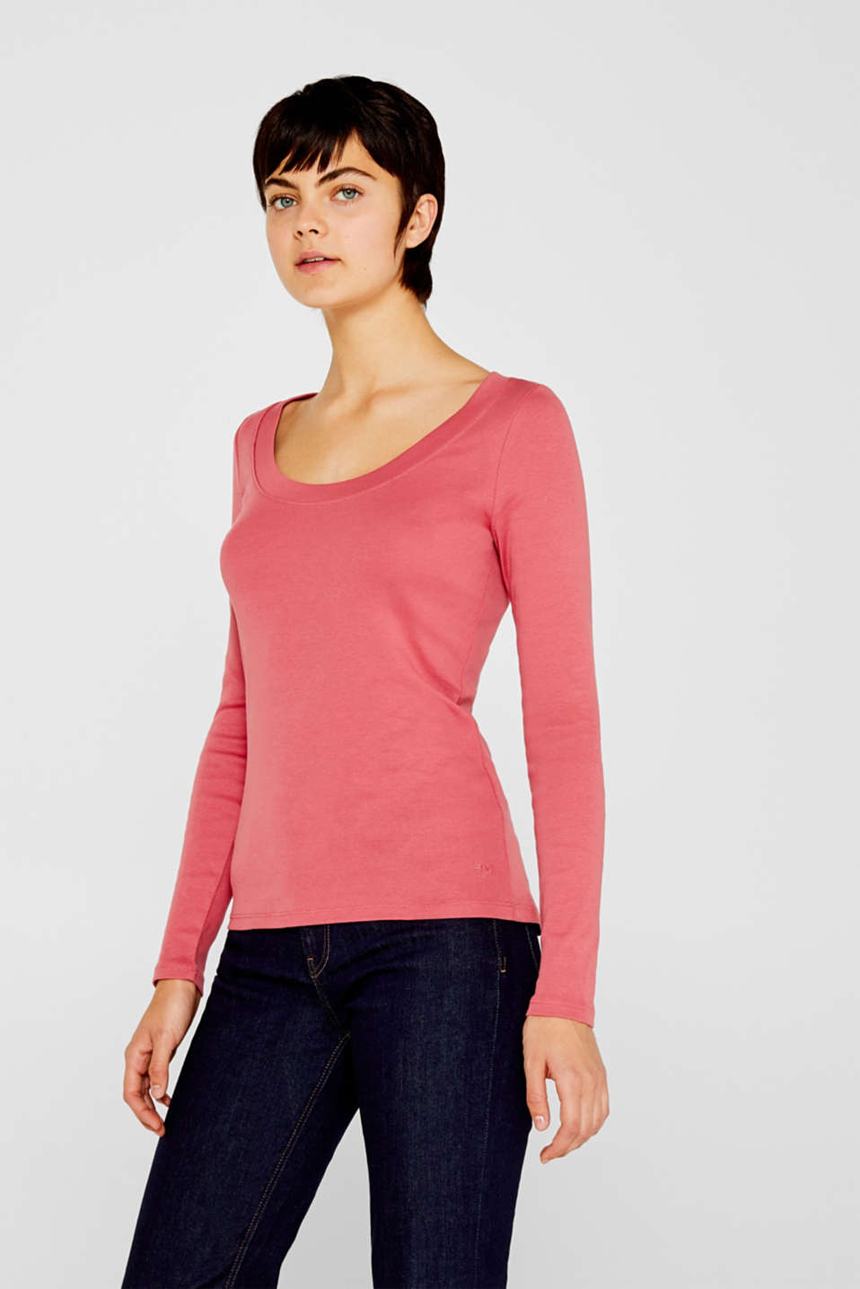 Long sleeve top with a large neckline, 100% cotton, BLUSH 4, detail image number 0