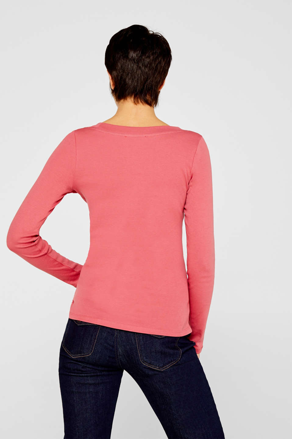 Long sleeve top with a large neckline, 100% cotton, BLUSH 4, detail image number 3