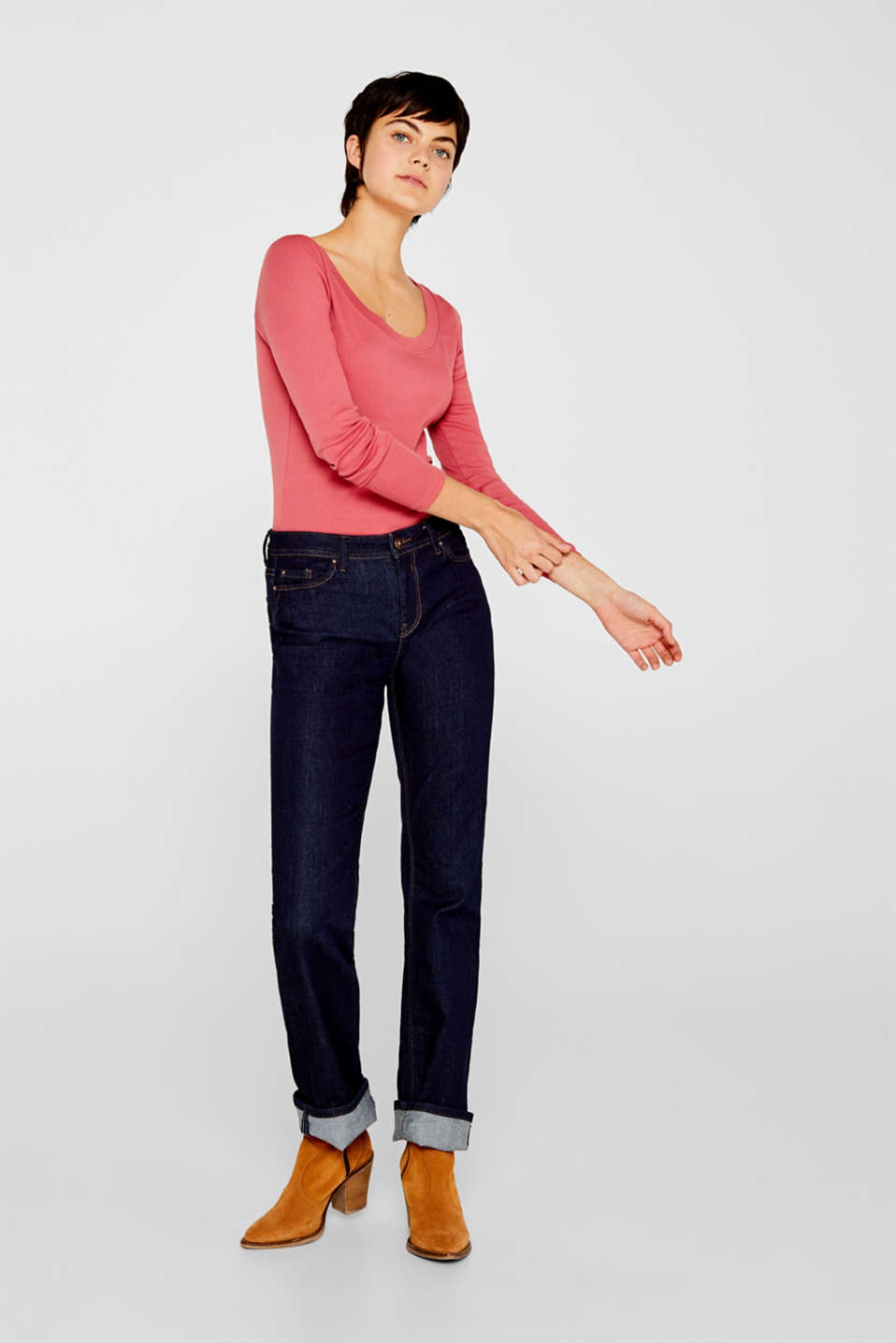 Long sleeve top with a large neckline, 100% cotton, BLUSH 4, detail image number 5