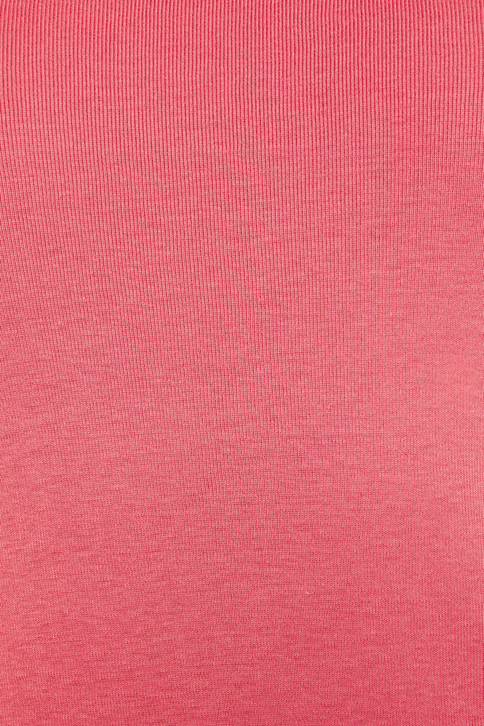 Long sleeve top with a large neckline, 100% cotton, BLUSH 4, detail image number 4