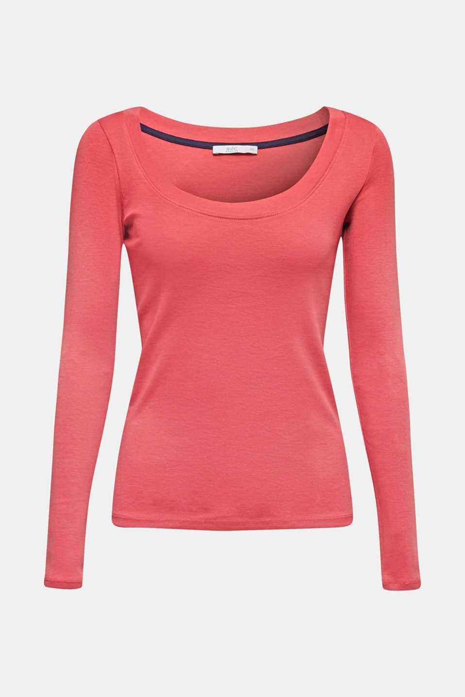 Long sleeve top with a large neckline, 100% cotton, BLUSH 4, detail image number 6
