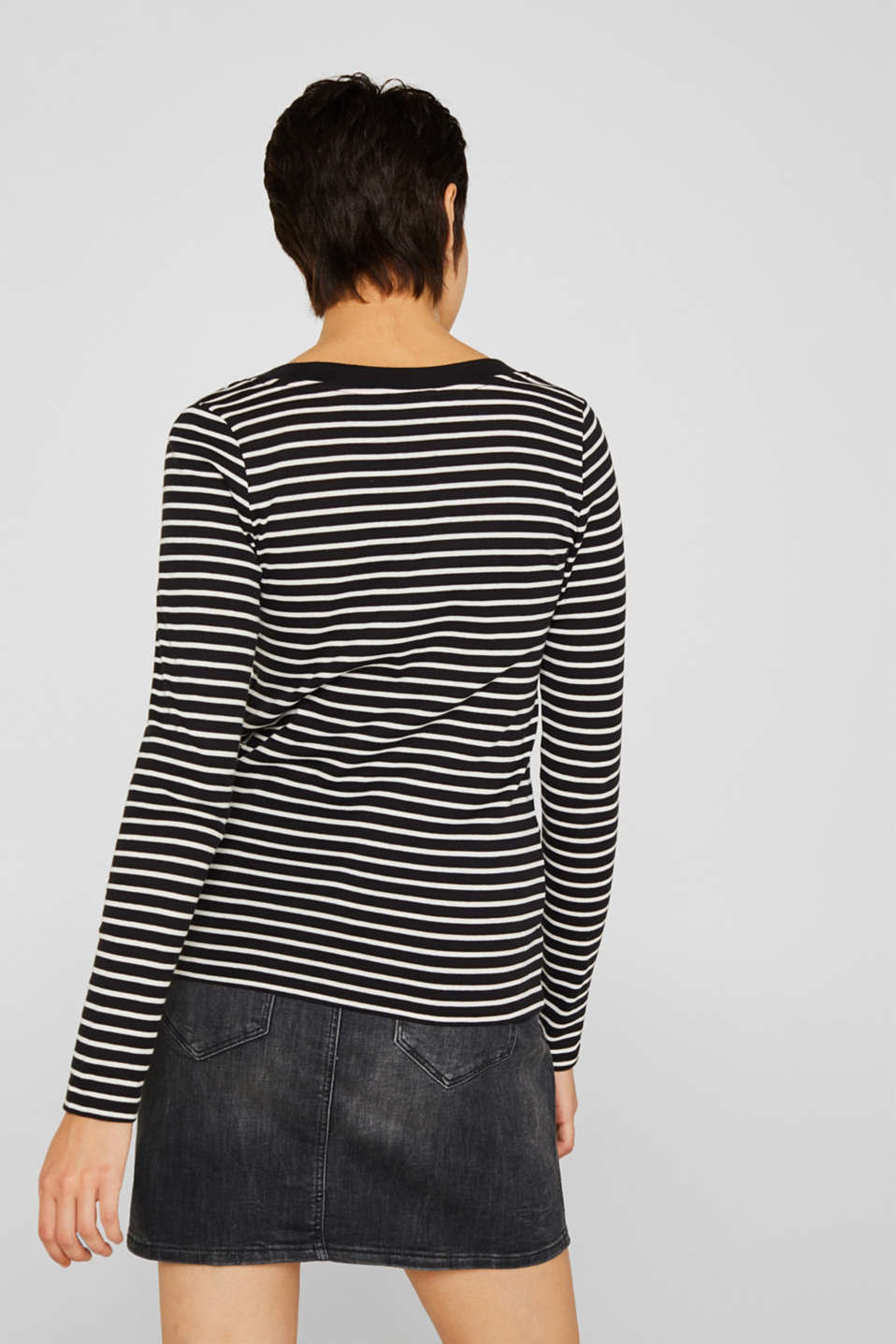 Full-needle long sleeve top, 100% cotton, BLACK, detail image number 3