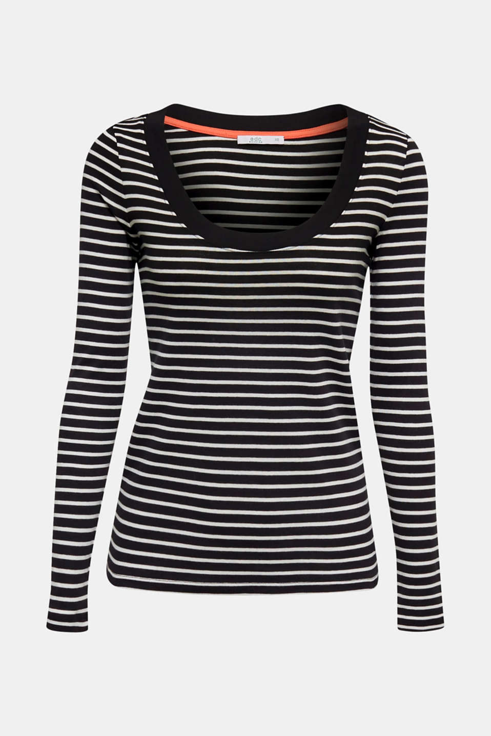 Full-needle long sleeve top, 100% cotton, BLACK, detail image number 5