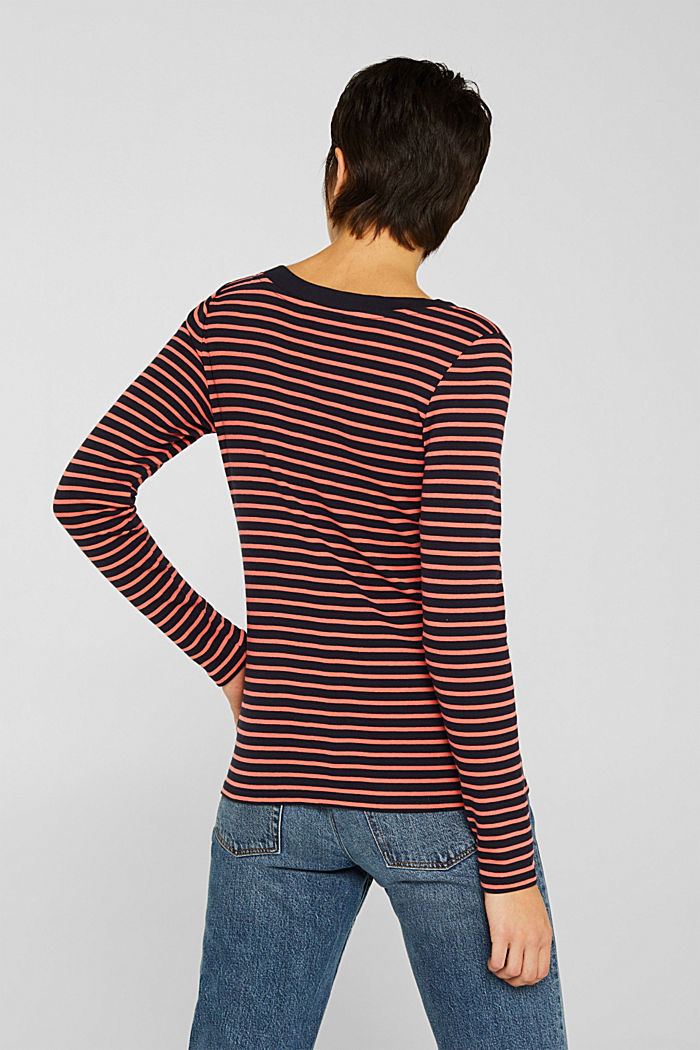 Full-needle long sleeve top, 100% cotton, NAVY, detail image number 3