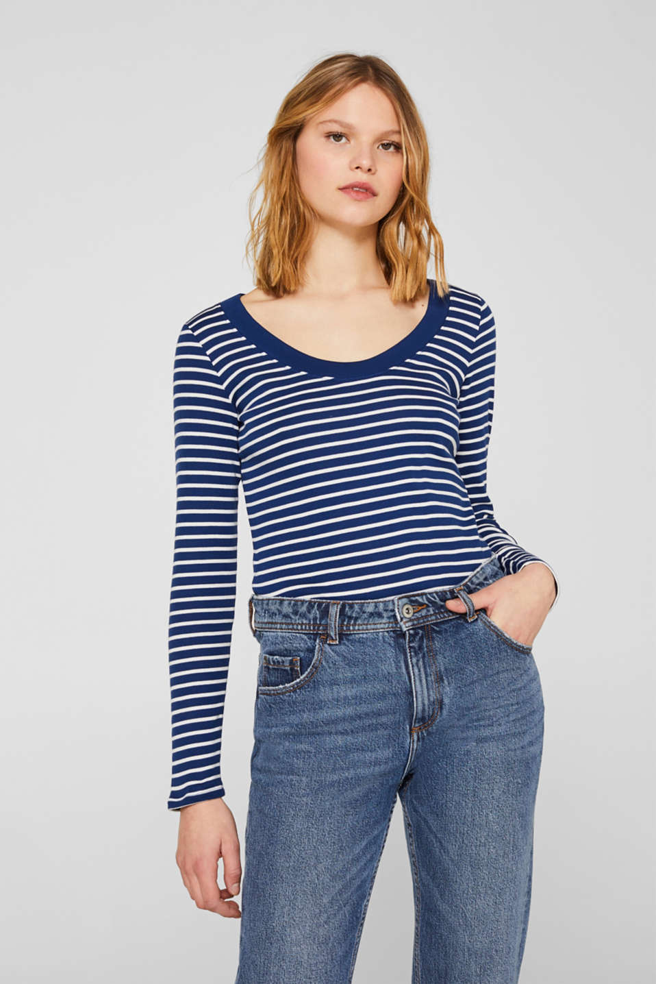 Full-needle long sleeve top, 100% cotton, DARK BLUE 4, detail image number 0
