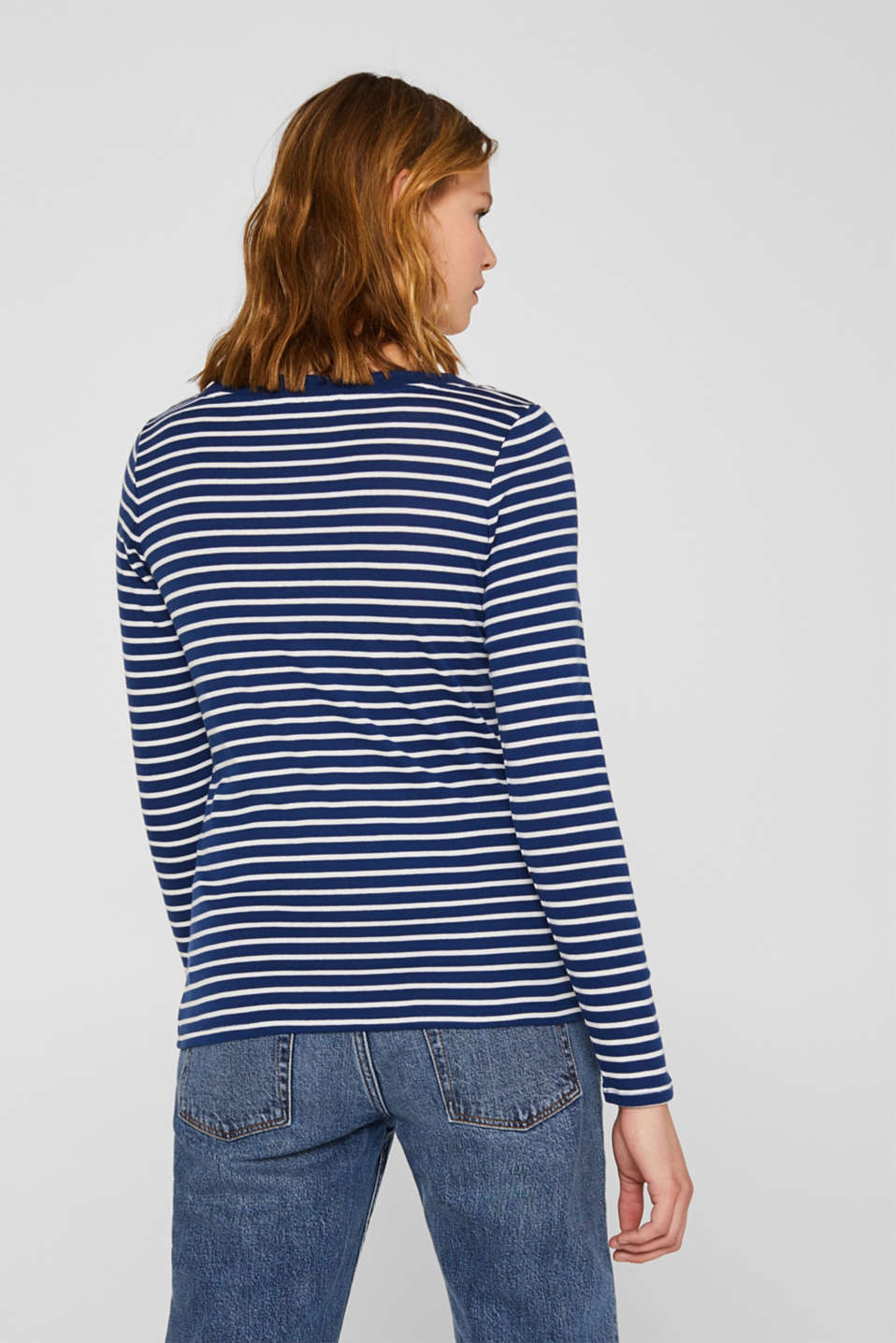 Full-needle long sleeve top, 100% cotton, DARK BLUE 4, detail image number 3