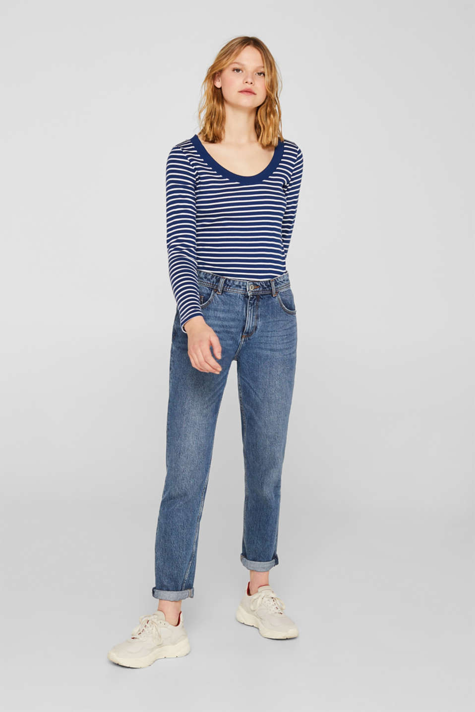 Full-needle long sleeve top, 100% cotton, DARK BLUE 4, detail image number 5