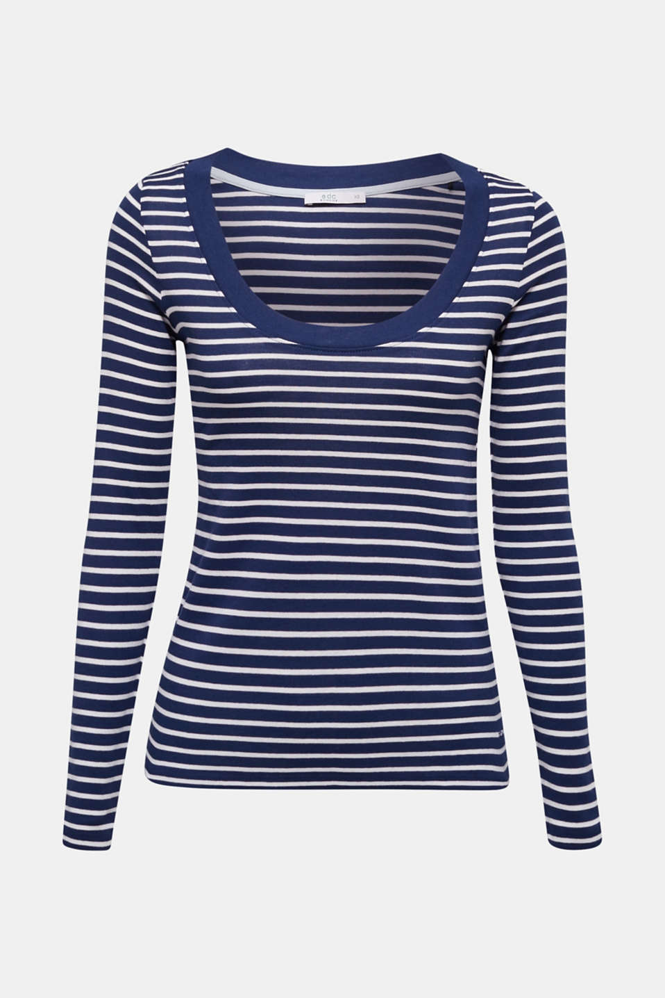 Full-needle long sleeve top, 100% cotton, DARK BLUE 4, detail image number 6