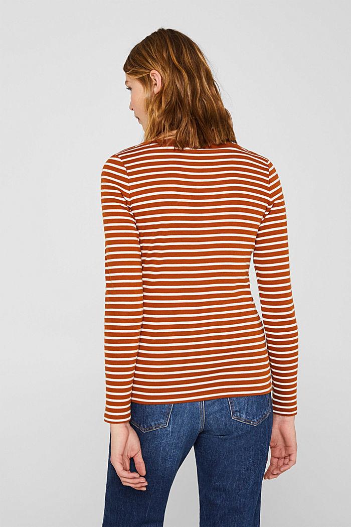 Full-needle long sleeve top, 100% cotton, CINNAMON, detail image number 3