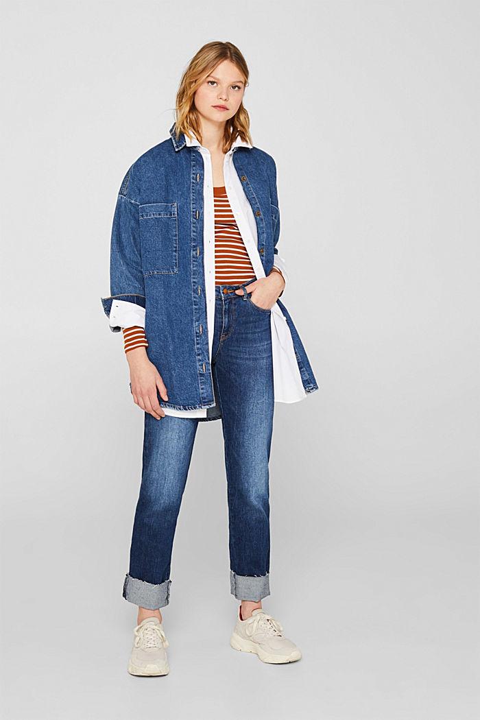 Full-needle long sleeve top, 100% cotton, CINNAMON, detail image number 1
