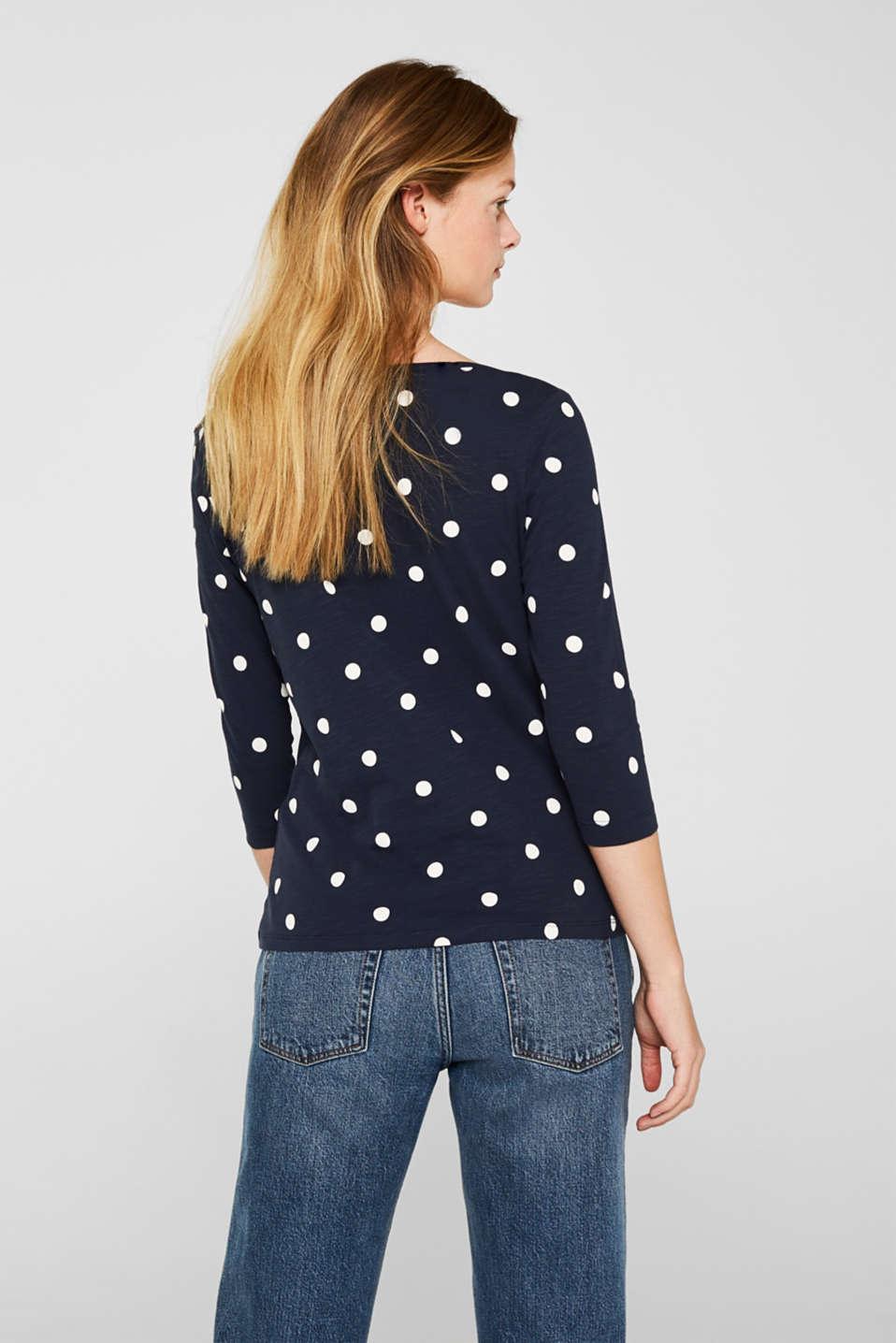 Printed slub jersey T-shirt in 100% cotton, NAVY, detail image number 3