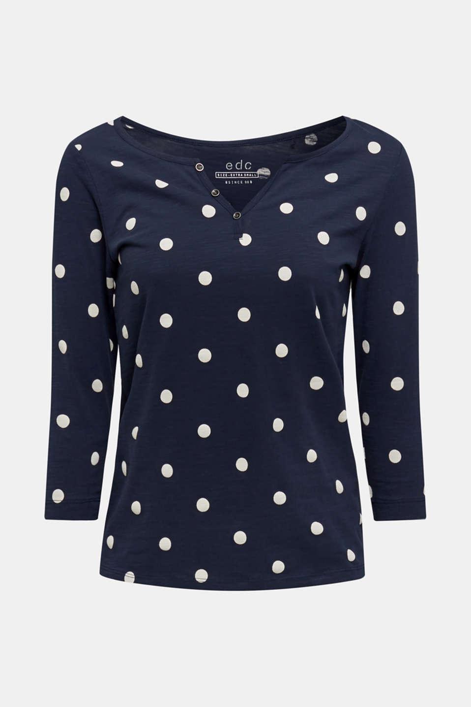 Printed slub jersey T-shirt in 100% cotton, NAVY, detail image number 6