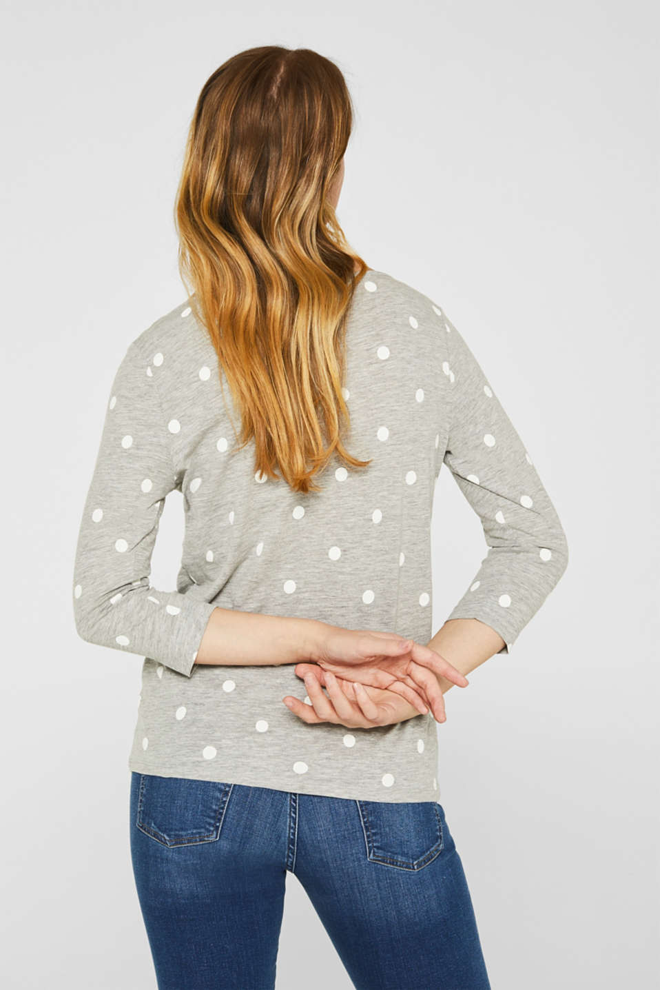 Melange long sleeve top with a polka dot print, LIGHT GREY 5, detail image number 3