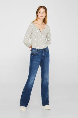 Melange long sleeve top with a polka dot print, LIGHT GREY 5, detail
