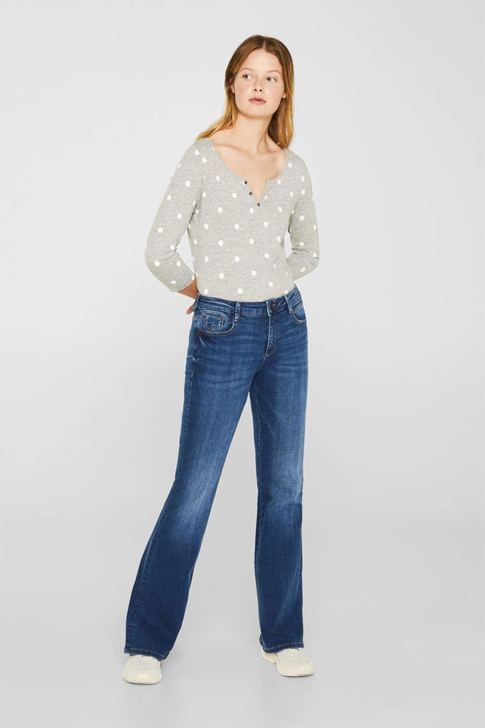 Melange long sleeve top with a polka dot print, LIGHT GREY 5, detail image number 1