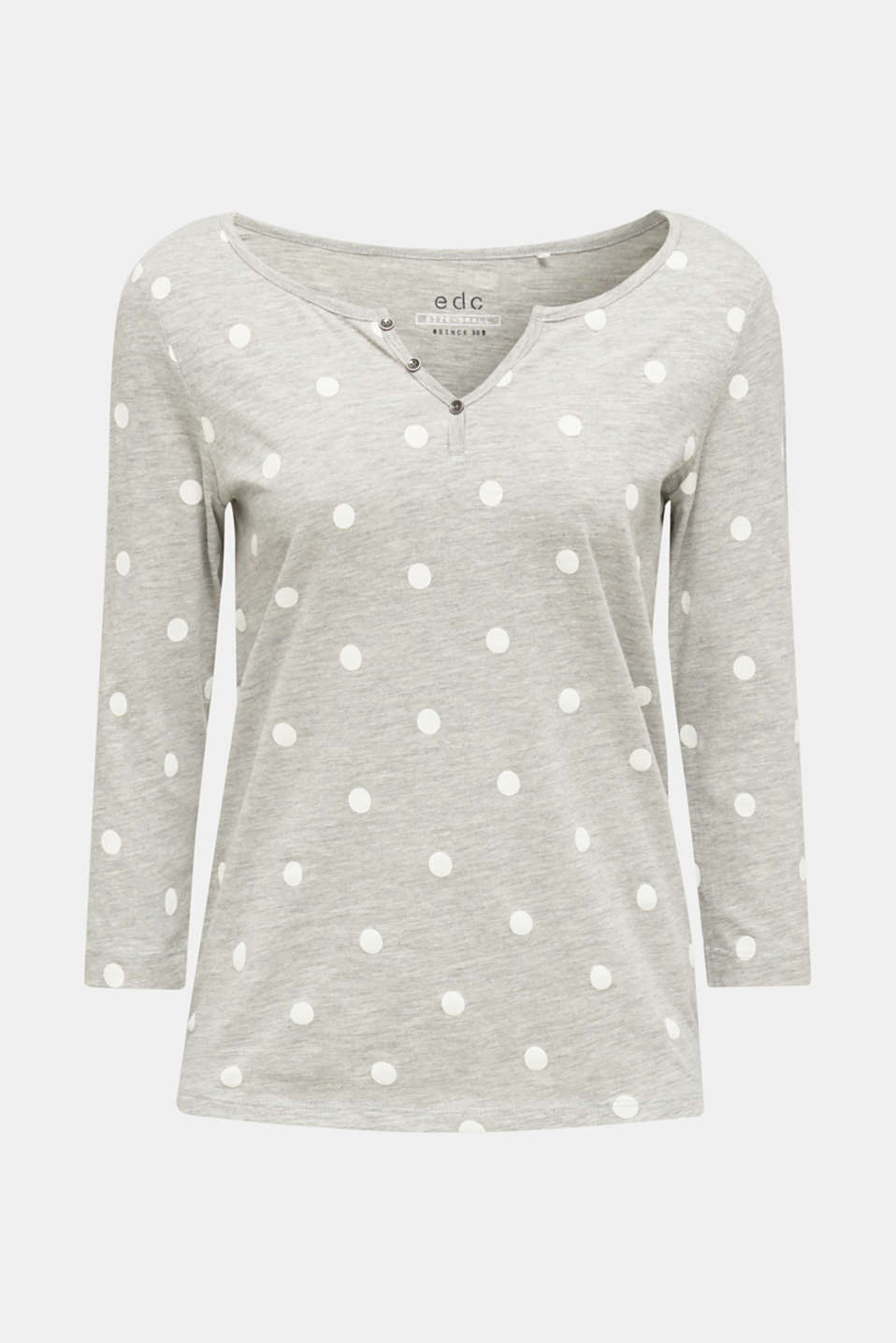 Melange long sleeve top with a polka dot print, LIGHT GREY 5, detail image number 5