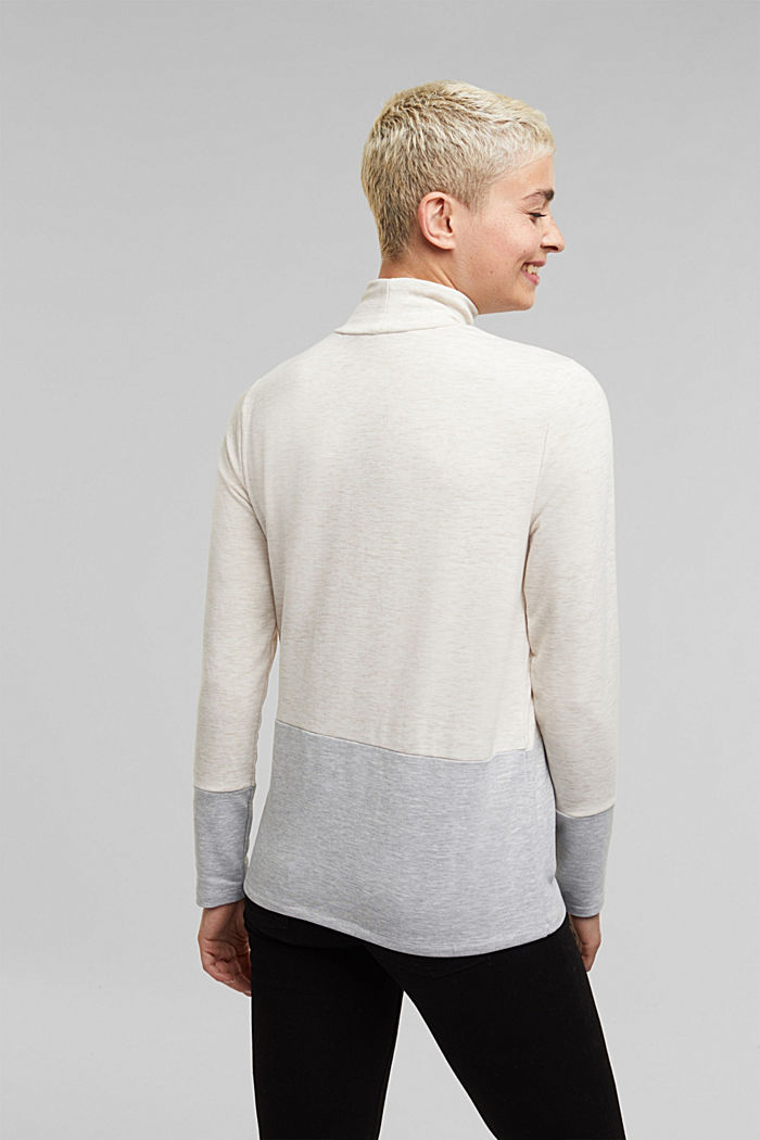 Stand-up collar long sleeve top in a colour block look, OFF WHITE, detail image number 3