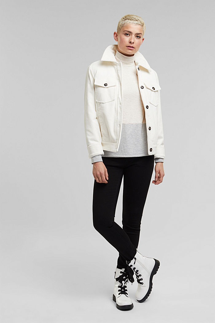 Stand-up collar long sleeve top in a colour block look, OFF WHITE, detail image number 1