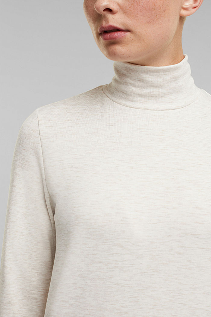 Stand-up collar long sleeve top in a colour block look, OFF WHITE, detail image number 2