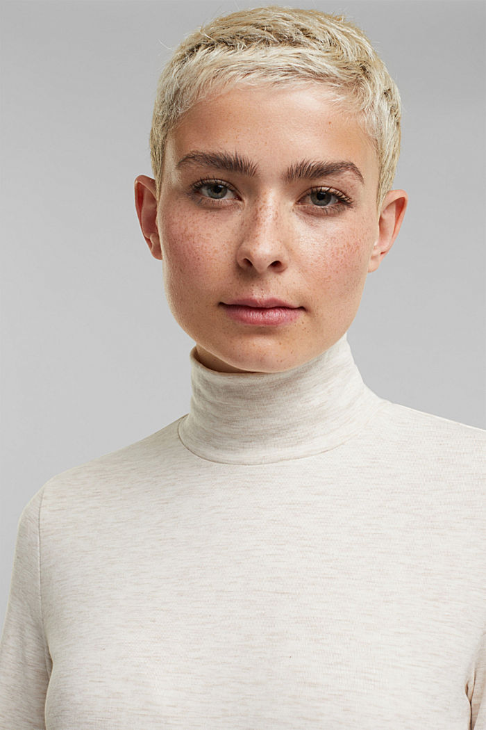 Stand-up collar long sleeve top in a colour block look, OFF WHITE, detail image number 5