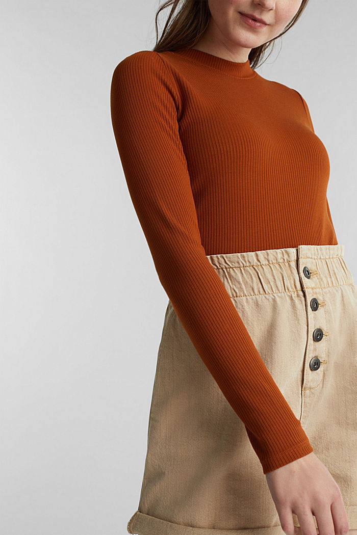 Stretch body with a ribbed texture, CINNAMON, detail image number 2