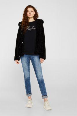 Embroidered sweatshirt, 100% cotton, BLACK, detail