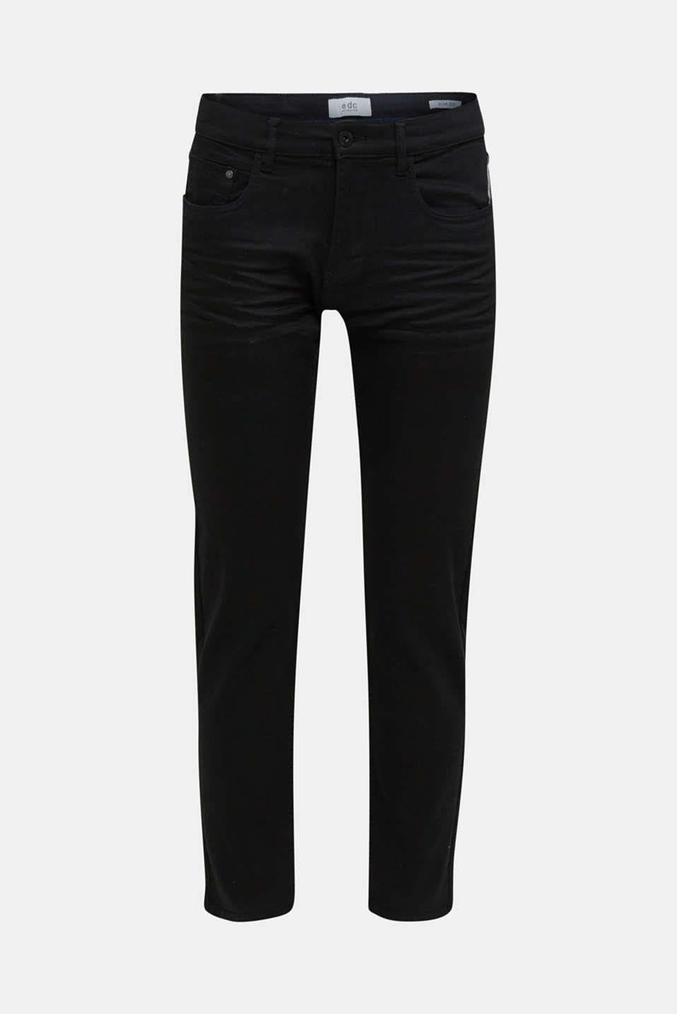 Stretch trousers with wrinkled effects, BLACK, detail image number 6