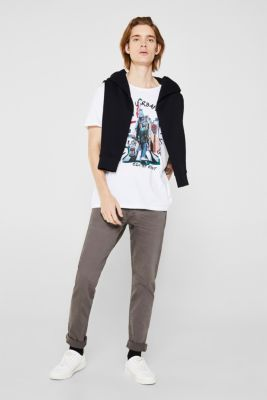 Stretch trousers with wrinkled effects, DARK GREY, detail
