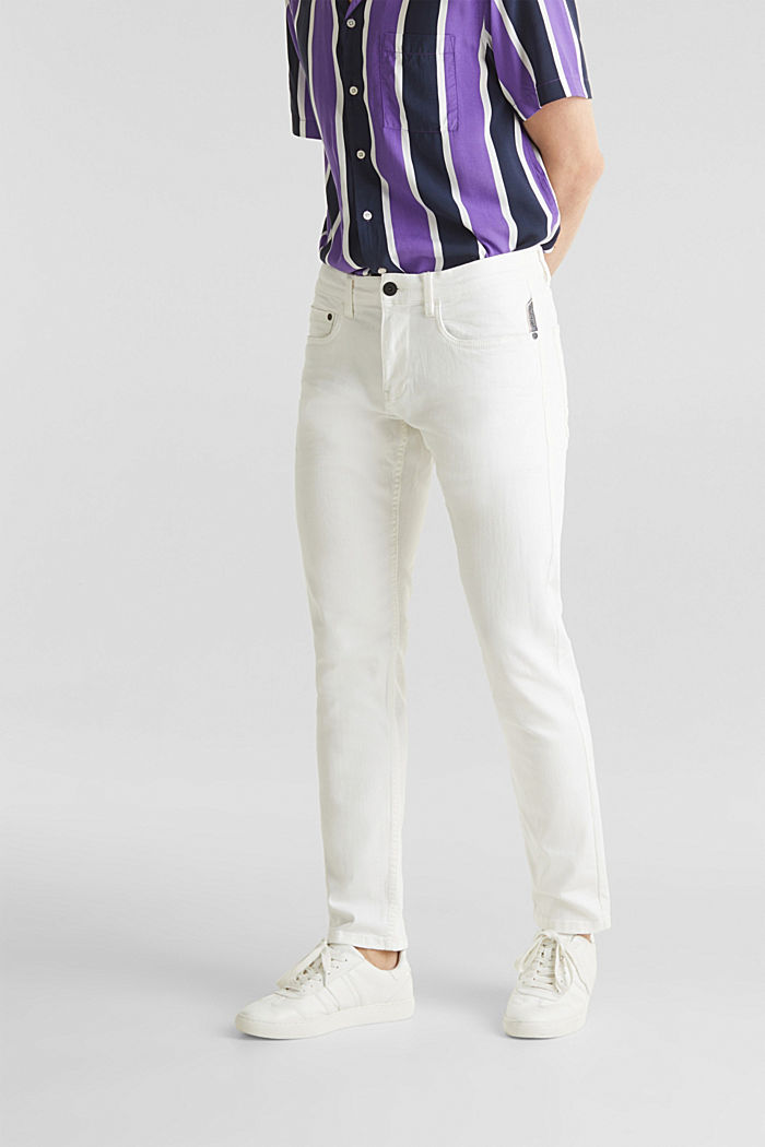 Stretch trousers with wrinkled effects, OFF WHITE, detail image number 0