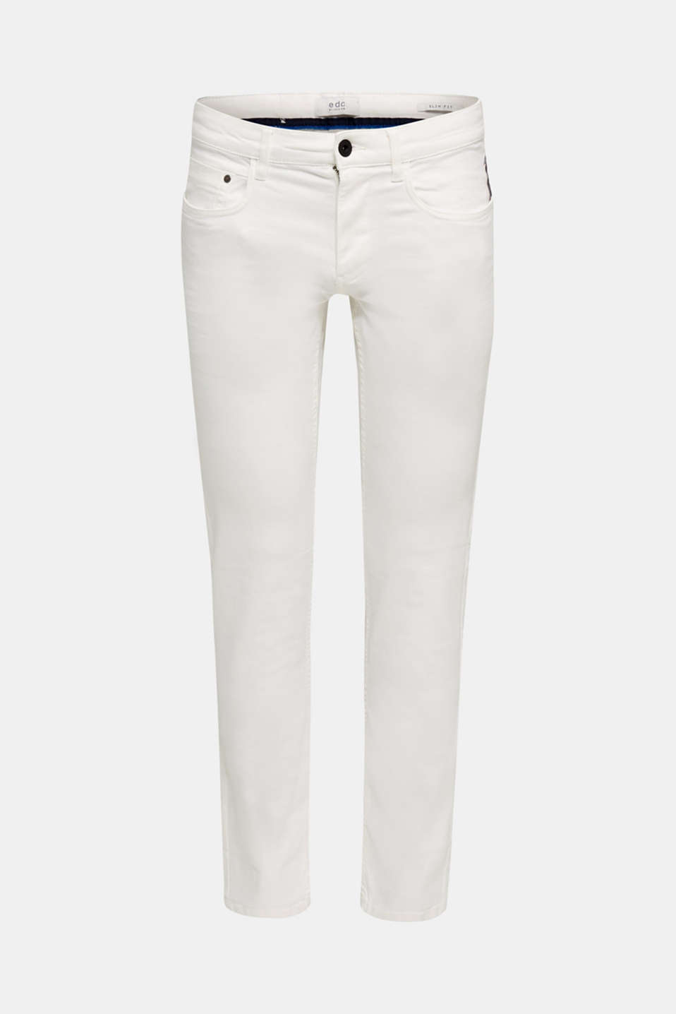 Stretch trousers with wrinkled effects, OFF WHITE, detail image number 6