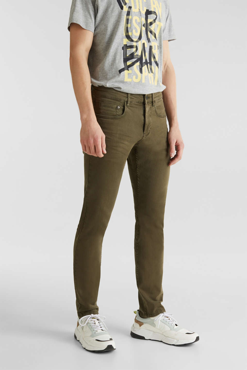 Stretch trousers with wrinkled effects, DARK KHAKI, detail image number 0