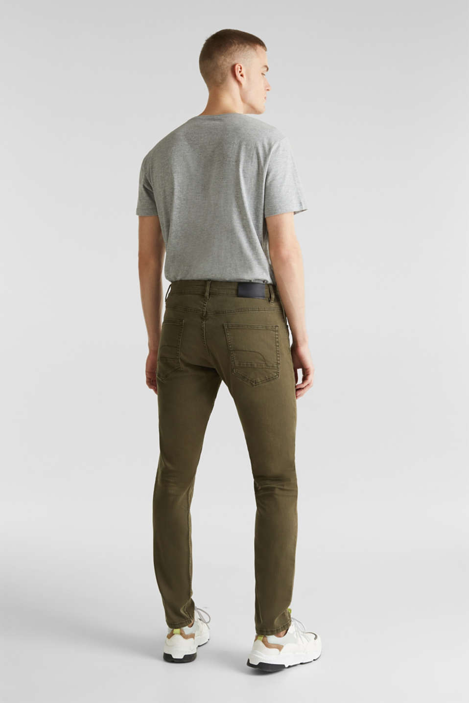 Stretch trousers with wrinkled effects, DARK KHAKI, detail image number 3