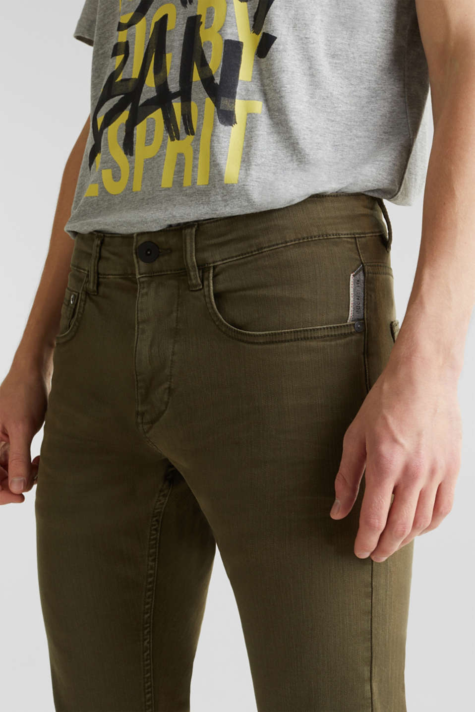 Stretch trousers with wrinkled effects, DARK KHAKI, detail image number 2