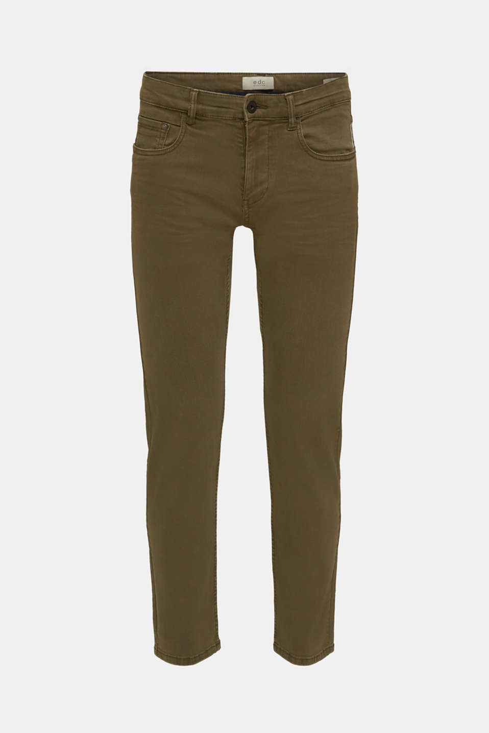 Stretch trousers with wrinkled effects, DARK KHAKI, detail image number 6