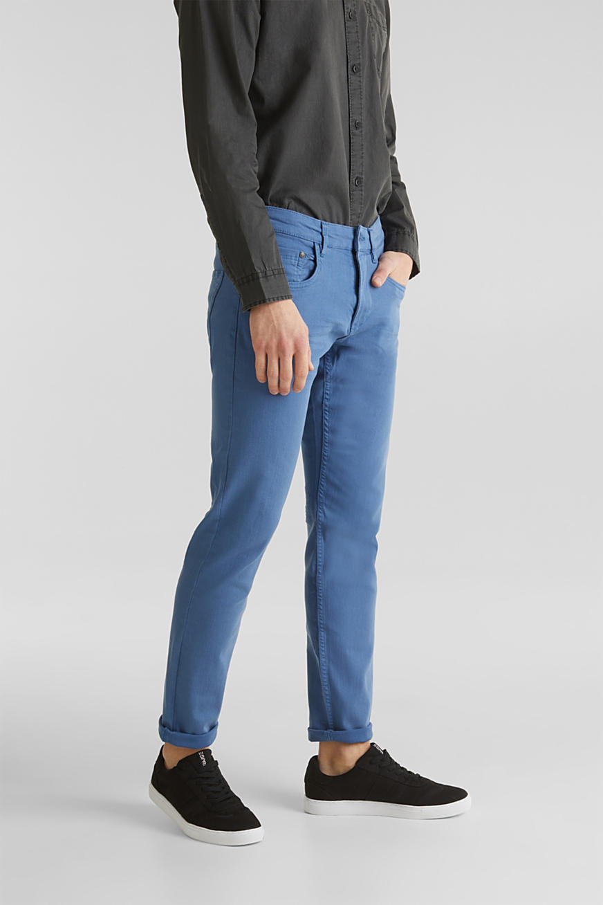 Stretch trousers with wrinkled effects