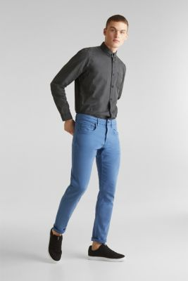 Stretch trousers with wrinkled effects, BRIGHT BLUE, detail