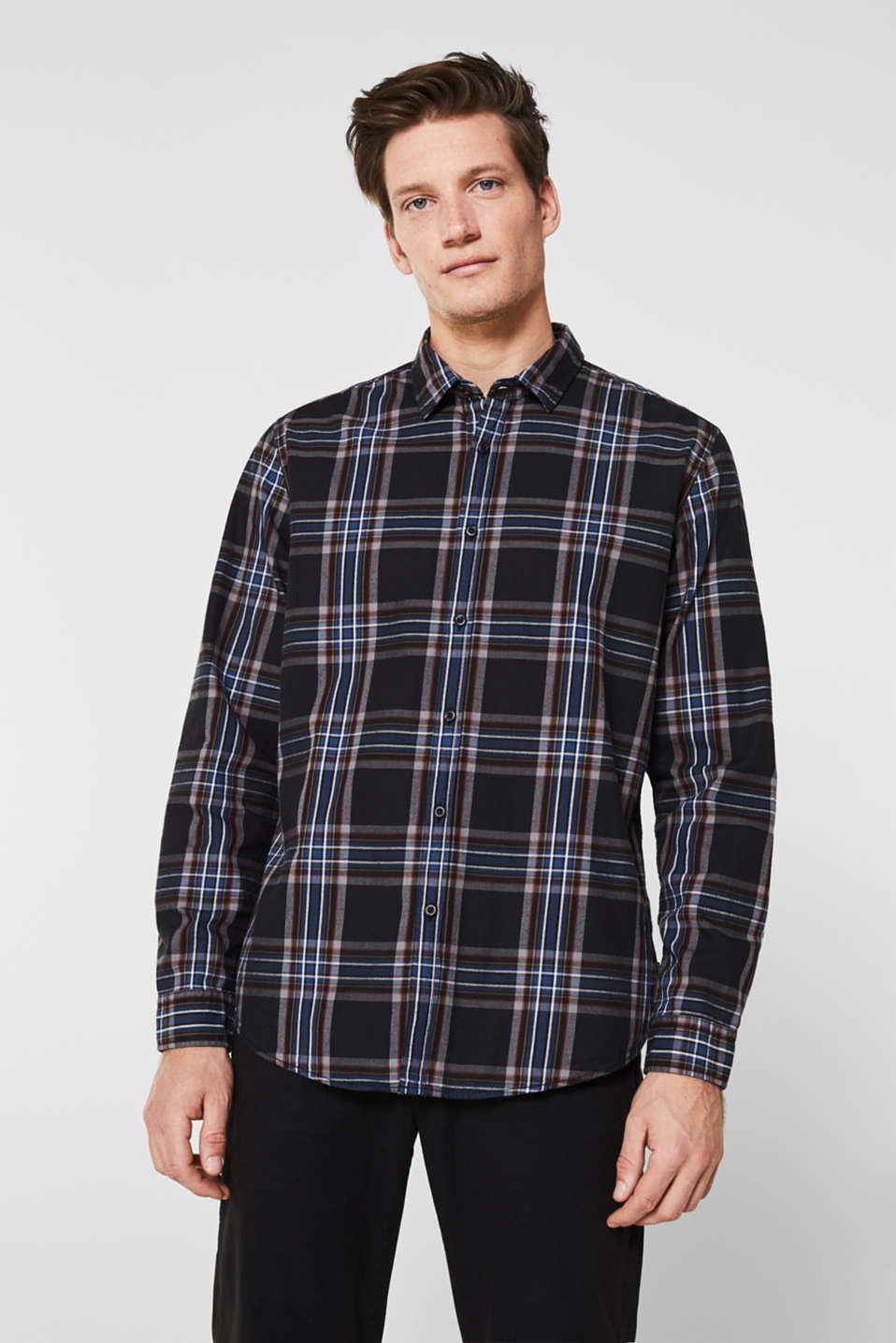 Flannel shirt with checks, 100% cotton, BLACK 3, detail image number 0