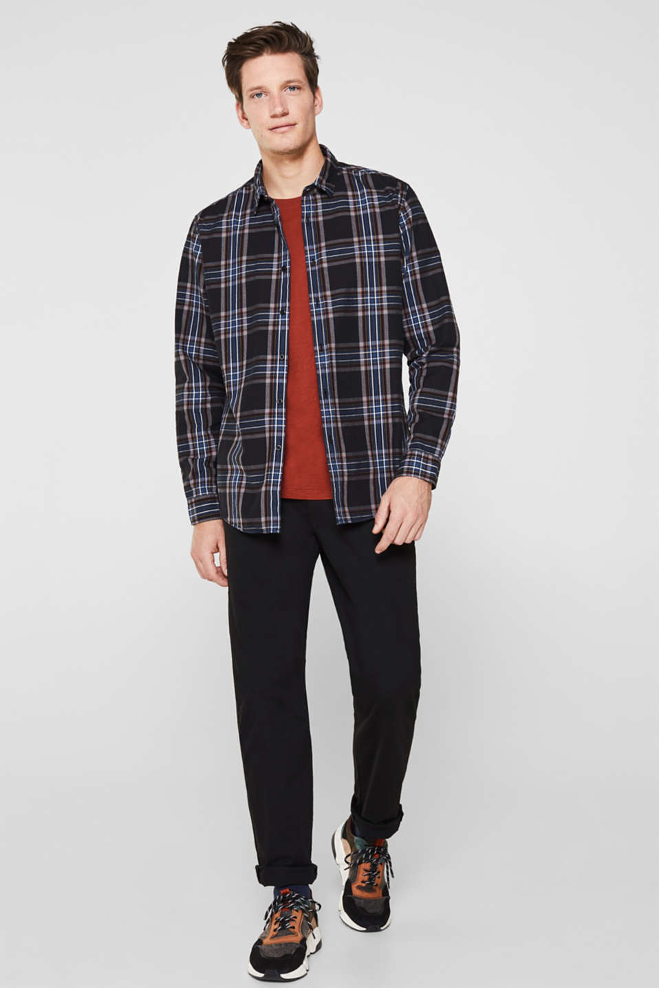 Flannel shirt with checks, 100% cotton, BLACK 3, detail image number 4