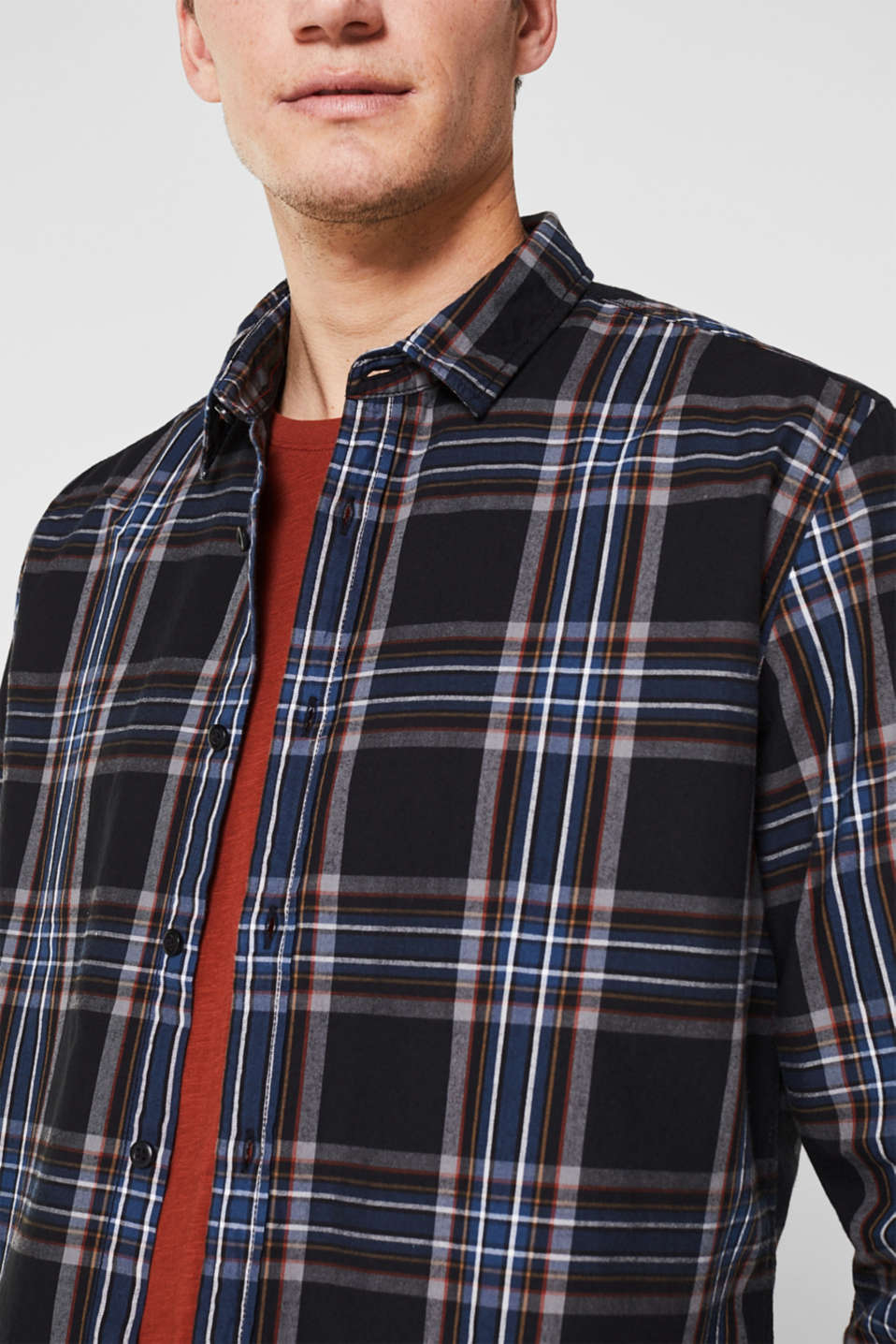 Flannel shirt with checks, 100% cotton, BLACK 3, detail image number 1