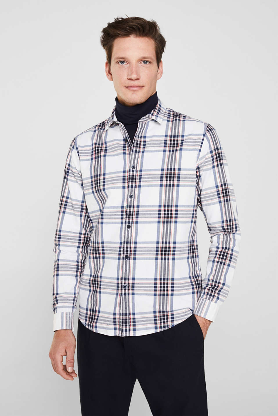 Flannel shirt with checks, 100% cotton, WHITE 3, detail image number 0