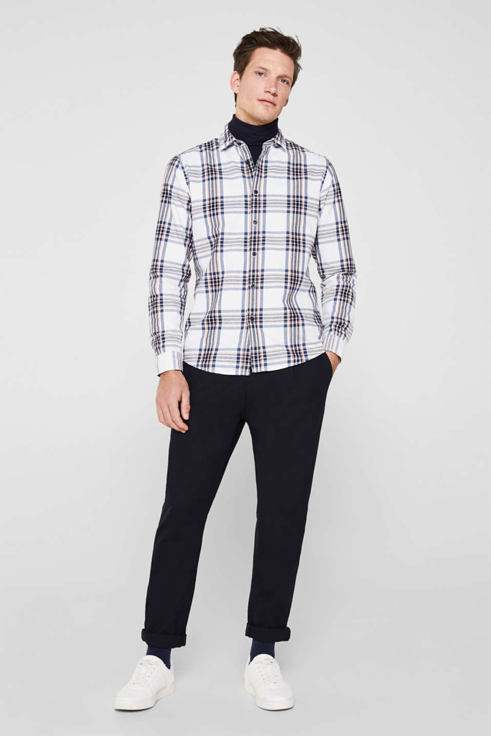 Flannel shirt with checks, 100% cotton, WHITE 3, detail image number 4
