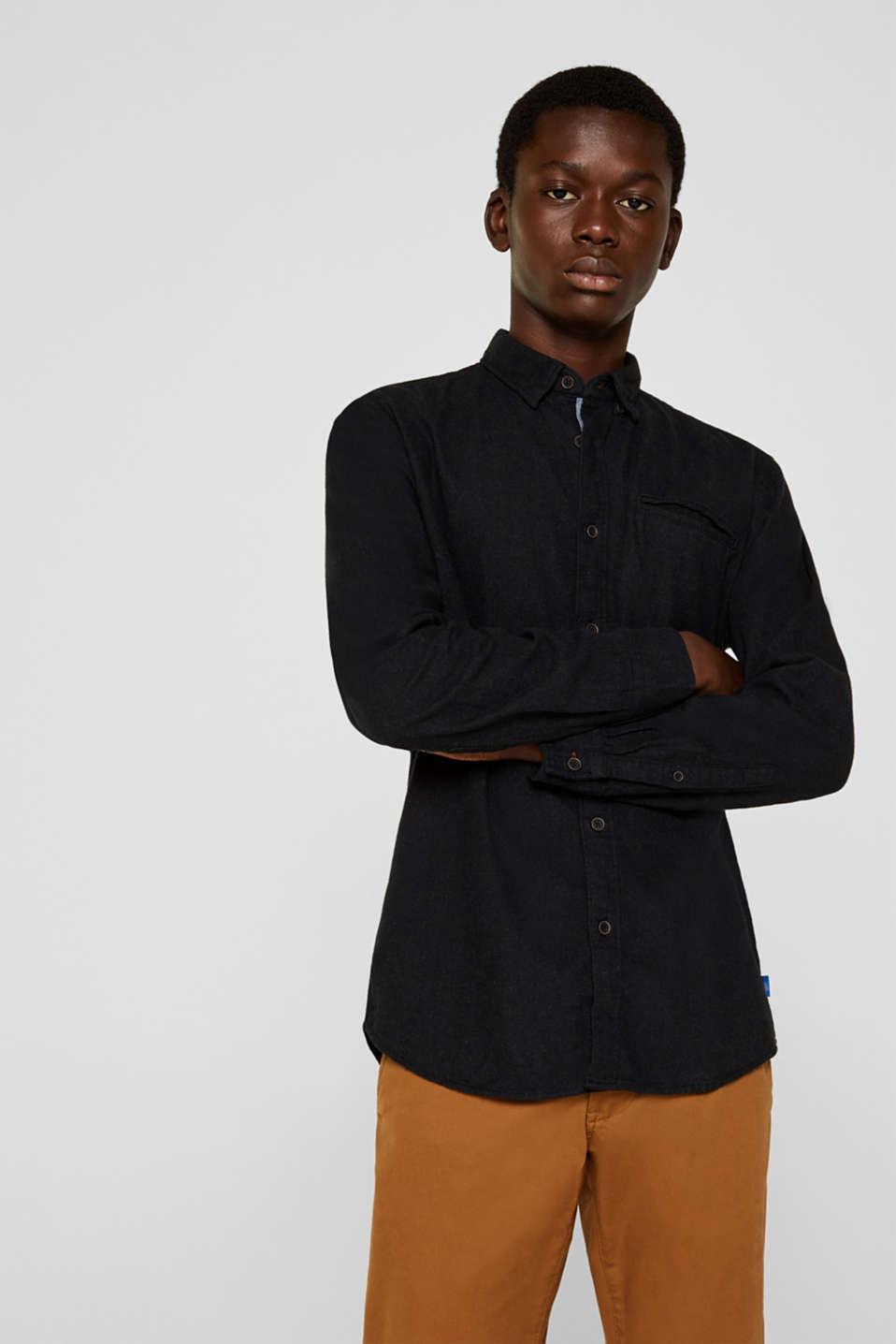 Flannel shirt in 100% cotton, DARK GREY 5, detail image number 0
