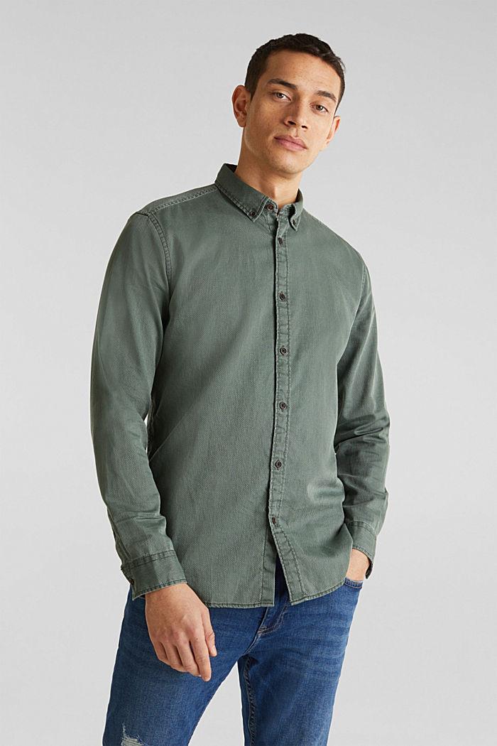 Overhemd met ruitenstructuur, 100% katoen, KHAKI GREEN, detail image number 0