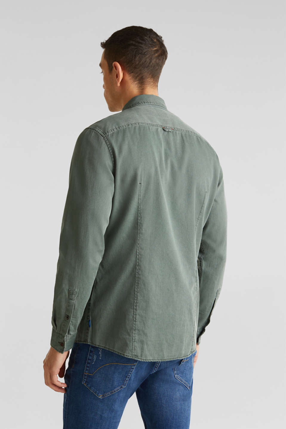 Shirt with a checked texture, 100% cotton, KHAKI GREEN 5, detail image number 3